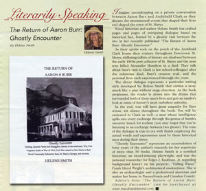 Literarily Speaking, The Return of Aaron Burr: Ghostly Encounter by Helene Smith. Article in Historic St. Marys Magazine from St. Marys, Georgia