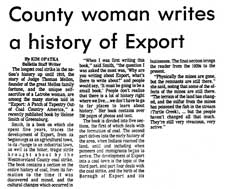 County woman writes a history of Export