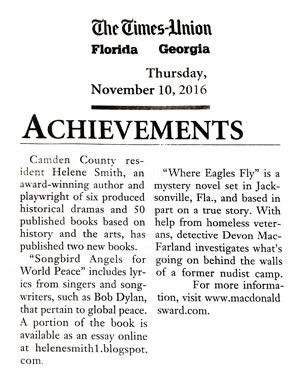 Times-Union newspaper about Where Eagles Fly and Songbird Angels for World Peace